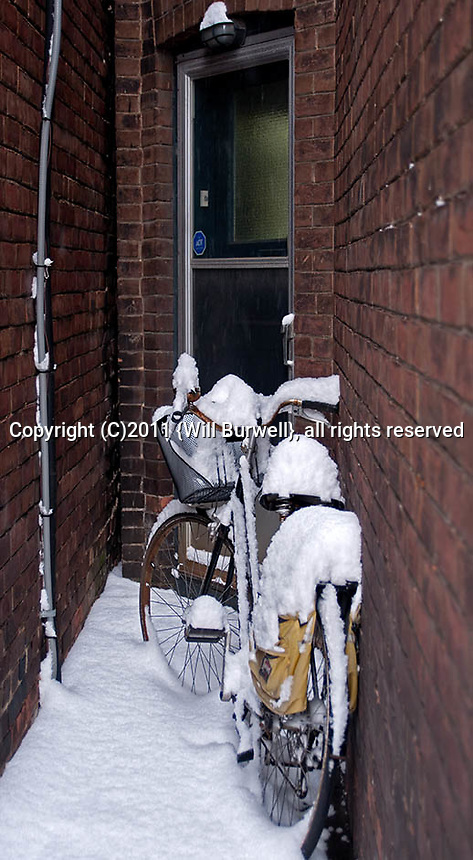Bicycle leaning against a wall covered in snow