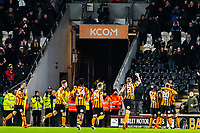 .Hull City congratulate scorer Nouha Dicko during the Sky Bet Championship match between Hull City and Sheff United at the KC Stadium, Kingston upon Hull, England on 23 February 2018. Photo by Stephen Buckley / PRiME Media Images.