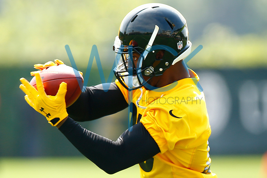 Sean Davis #28 of the Pittsburgh Steelers catches a pass during OTA's at the Rooney Sports Complex on the Side Side in Pittsburgh, Pennsylvania on May 31, 2016. (Photo by Jared Wickerham/DKPittsburghSports)