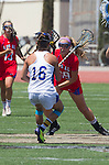 Torrance, CA 05/11/13 - Ceilidh Kempton (Agoura #16) and Grace Schmidt-Beck (Los Alamitos #19) during the 2013 Los Angeles/Orange County Championship game between Los Alamitos and Agoura.  Los Alamitos defeated Agoura 19-4.