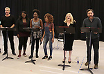 """Nick Cordero, Amma Osei, Amber Iman, Allison Semmes, Megan Hilty and Josh Radnor In Rehearsal with the Kennedy Center production of """"Little Shop of Horrors"""" on October 11 2018 at Ballet Hispanica in New York City."""