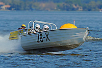 """JS-X """"Project X"""" (Jersey Speed Skiff) and Dick Daly, JS-77 """"Justa Fishn Bote"""" (Jersey Speed Skiff)"""