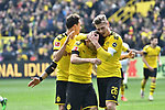 11.05.2019, Signal Iduna Park, Dortmund, GER, DFL, 1. BL, Borussia Dortmund vs Fortuna Duesseldorf, DFL regulations prohibit any use of photographs as image sequences and/or quasi-video<br /> <br /> im Bild Christian Pulisic (#22, Borussia Dortmund) jubelt nach seinem Tor zum 1:0 mit Thomas Delaney (#6, Borussia Dortmund) und Lukasz Piszczek (#26, Borussia Dortmund) <br /> <br /> Foto &copy; nordphoto/Mauelshagen