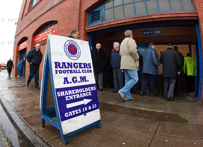 Rangers shareholders arrive for the AGM at Ibrox stadium