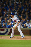 Chicago Cubs third baseman Kris Bryant (17) in the second inning during Game 3 of the Major League Baseball World Series against the Cleveland Indians on October 28, 2016 at Wrigley Field in Chicago, Illinois.  (Mike Janes/Four Seam Images)