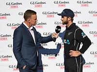 Craig Cumming interviews Kane Williamson.<br /> New Zealand Blackcaps v England. 5th ODI International one day cricket, Hagley Oval, Christchurch. New Zealand. Saturday 10 March 2018. &copy; Copyright Photo: Andrew Cornaga / www.Photosport.nz