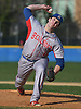 Ryan Baumann #11, Bellport pitcher, delivers to the plate during the bottom of the sixth inning of a Suffolk County varsity baseball game against host West Islip High School on Wednesday, April 12, 2017. He pitched a complete game and struck out 13 batters in Bellport's 6-2 win.