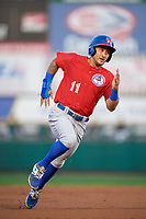 Buffalo Bisons second baseman Christian Lopes (11) running the bases during a game against the Rochester Red Wings on August 25, 2017 at Frontier Field in Rochester, New York.  Buffalo defeated Rochester 2-1 in eleven innings.  (Mike Janes/Four Seam Images)