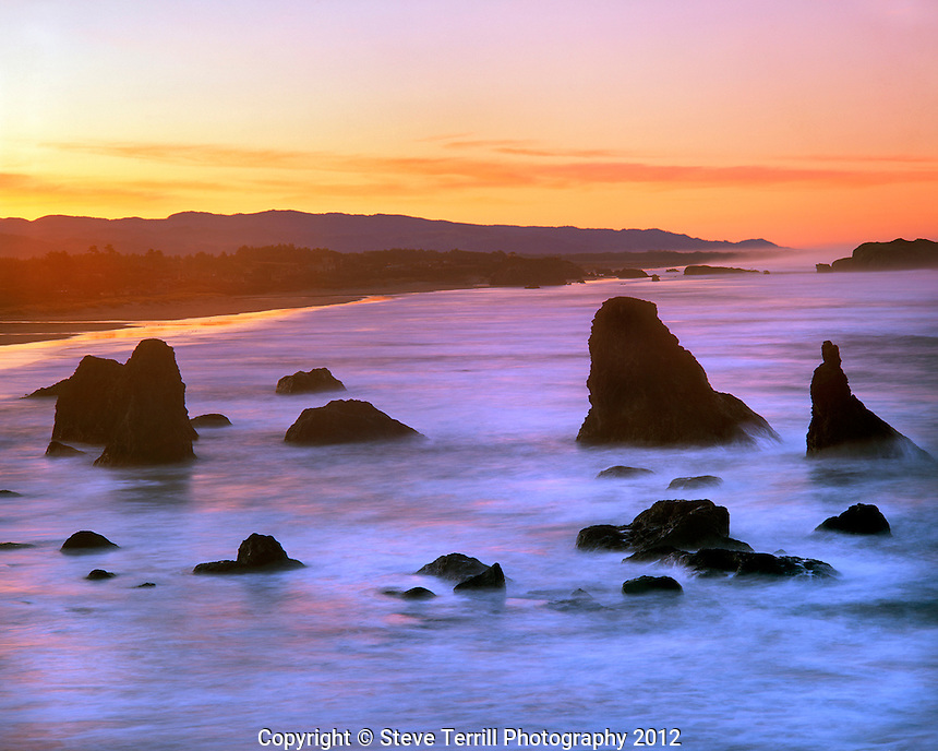 Rock formations at Bandon Beach in Coos County Oregon