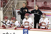 Megan Shea (BC - 23), Laura Hart (BC - 27), Danielle Doherty (BC - 19), Katie King (BC - Head Coach), Melissa Bizzari (BC - 4) - The Boston College Eagles and the visiting University of New Hampshire Wildcats played to a scoreless tie in BC's senior game on Saturday, February 19, 2011, at Conte Forum in Chestnut Hill, Massachusetts.
