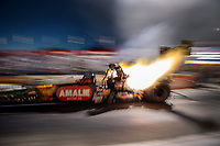 Nov 9, 2018; Pomona, CA, USA; NHRA top fuel driver Terry McMillen during qualifying for the Auto Club Finals at Auto Club Raceway. Mandatory Credit: Mark J. Rebilas-USA TODAY Sports