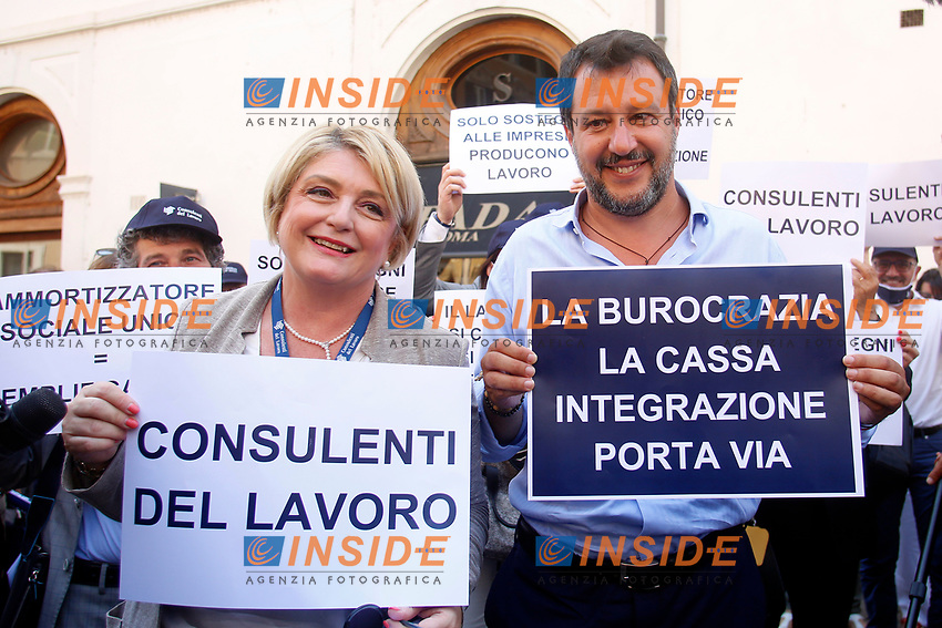 The President of the Italian labour consultants Marina Elvira Calderone and the Italian leader of the Lega party Matteo Salvini during demonstration of labour consultants against the Government in Montecitorio Square. Rome (Italy), July 29th 2020<br /> Photo Samantha Zucchi Insidefoto