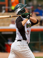 GREEN BAY - June 2015: Green Bay Bullfrogs infielder Matthew De La Rosa (11) during a Northwoods League game against the Kenosha Kingfish on June 21st, 2015 at Joannes Park in Green Bay, Wisconsin. Green Bay defeated Kenosha 10-7. (Brad Krause/Krause Sports Photography)