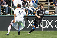 April 11, 2009:  Dasan Robinson of Fire and Bobby Convey of Earthquakes in action at Buck Shaw Stadium in Santa Clara, California. San Jose Earthquakes and Chicago Fire tied, 3-3