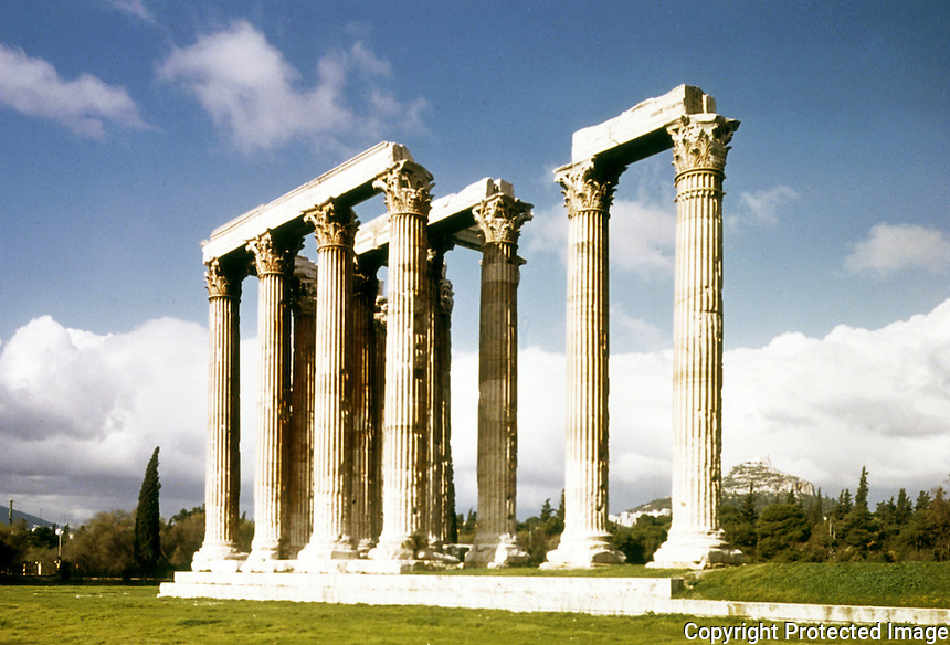 Greece: Temple of Olympian Zeus, Time of Hadrian. Only 16 columns remain--others removed by Genoese and Venetians.
