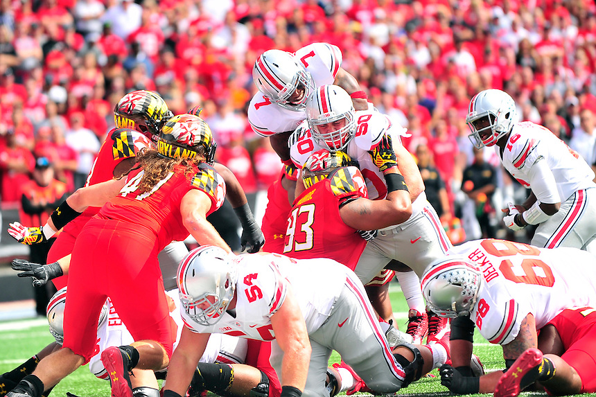 Rod Smith of the Buckeyes leaps for a touchdown. Ohio State trounced Maryland 52-24 during a game at the Capital One Field in Byrd Stadium, College Park, MD on Saturday, October 4, 2014.  Alan P. Santos/DC Sports Box
