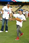 LOS ANGELES, CA. - September 02: Pete Wentz and Blake Griffin, top draft pick of the Los Angeles Clippers  posing before he throws the ceremonial first pitch at Dodger Stadium in Los Angeles, California on September 2, 2009.