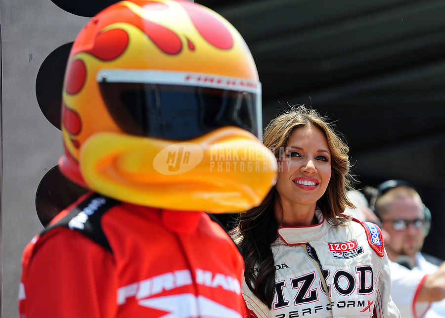 May 28, 2010; Indianapolis, IN, USA; IZOD trophy girl Cameron Haven in victory lane after the Freedom 100 at the Indianapolis Motor Speedway. Mandatory Credit: Mark J. Rebilas-