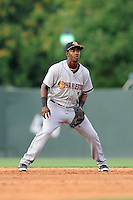 Shortstop Jorge Mateo (2) of the Charleston RiverDogs plays the infield in a game against the Greenville Drive on Monday, June 29, 2015, at Fluor Field at the West End in Greenville, South Carolina. Greenville won, 4-2. (Tom Priddy/Four Seam Images)