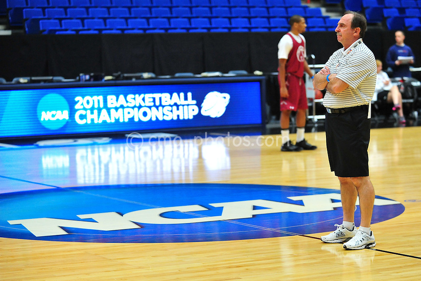 Mar 16, 2011; Tucson, AZ, USA; Temple Owls head coach Fran Dunphy during practice the day before the second round of the 2011 NCAA men's basketball tournament at the McKale Center.