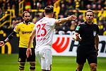 11.05.2019, Signal Iduna Park, Dortmund, GER, 1.FBL, Borussia Dortmund vs Fortuna Düsseldorf, DFL REGULATIONS PROHIBIT ANY USE OF PHOTOGRAPHS AS IMAGE SEQUENCES AND/OR QUASI-VIDEO<br /> <br /> im Bild | picture shows:<br /> Niko Giesselmann (Fortuna #23) beschwert sich bei Schiedsrichter | Referee Tobias Stieler, <br /> <br /> Foto © nordphoto / Rauch