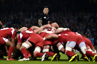 Sonny Bill Williams of New Zealand watches a scrum. Rugby World Cup Pool C match between New Zealand and Georgia on October 2, 2015 at the Millennium Stadium in Cardiff, Wales. Photo by: Patrick Khachfe / Onside Images