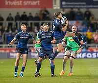 3rd January 2020; AJ Bell Stadium, Salford, Lancashire, England; English Premiership Rugby, Sale Sharks versus Harlequins;  Will Cliff of Sale Sharks takes the ball in the air - Editorial Use