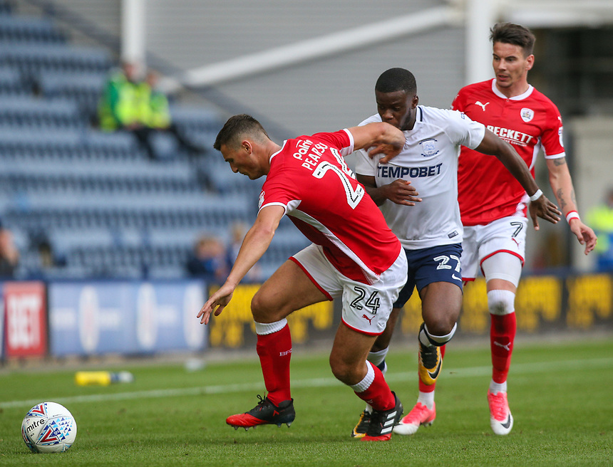 Preston North End's Stephy Mavididi takes on Barnsley's Matty Pearson<br /> <br /> Photographer Alex Dodd/CameraSport<br /> <br /> The EFL Sky Bet Championship - Preston North End v Barnsley - Saturday 9th September 2017 - Deepdale Stadium - Preston<br /> <br /> World Copyright &copy; 2017 CameraSport. All rights reserved. 43 Linden Ave. Countesthorpe. Leicester. England. LE8 5PG - Tel: +44 (0) 116 277 4147 - admin@camerasport.com - www.camerasport.com