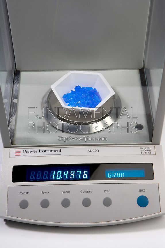 MASS OF AN OBJECT MEASURED ON 2 DIFFERENT BALANCES: 2 of 2 <br /> (Variations Available)<br /> Copper Chloride Measured On An Analytical Balance<br /> The same specimen is measured on an analytical balance with readability of 0.1mg.  Three measurements of the mass have good or high precision with linearity of +/- 0.0001g