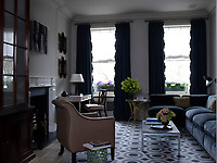 In the study the custom made rug is based on a David Hicks pattern