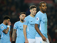 Manchester City's John Stones and his fellow defenders line up for a corner<br /> <br /> Photographer Alex Dodd/CameraSport<br /> <br /> The Premier League - Liverpool v Manchester City - Sunday 14th January 2018 - Anfield - Liverpool<br /> <br /> World Copyright &copy; 2018 CameraSport. All rights reserved. 43 Linden Ave. Countesthorpe. Leicester. England. LE8 5PG - Tel: +44 (0) 116 277 4147 - admin@camerasport.com - www.camerasport.com