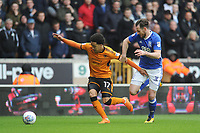 Birmingham City's Jonathan Grounds vies for possession with Wolverhampton Wanderers' Helder Costa<br /> <br /> Photographer Ashley Crowden/CameraSport<br /> <br /> The EFL Sky Bet Championship - Wolverhampton Wanderers v Birmingham City - Sunday 15th April 2018 - Molineux - Wolverhampton<br /> <br /> World Copyright &copy; 2018 CameraSport. All rights reserved. 43 Linden Ave. Countesthorpe. Leicester. England. LE8 5PG - Tel: +44 (0) 116 277 4147 - admin@camerasport.com - www.camerasport.com
