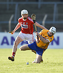 Evan O Siochan of Cork  in action against Pat O Connor of Clare during their Munster Hurling League game at Cusack Park. Photograph by John Kelly.