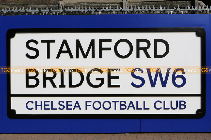 A large Stamford Bridge SW6 sign on the wall by the entrance to the stadium during Chelsea Under-23 vs Arsenal Under-23, Premier League 2 Football at Stamford Bridge on 15th April 2019