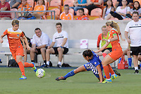 Houston, TX - Sunday Sept. 11, 2016: Rebecca Moros, Brooke Elby, Kealia Ohai during a regular season National Women's Soccer League (NWSL) match between the Houston Dash and the Boston Breakers at BBVA Compass Stadium.