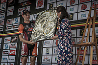 Laurens Sweeck (BEL/Pauwels Sauzen-Vastgoedservice) receiving the 'Michaël Goolaerts prize' for most combative rider..  As being a personal friend to Michaël Goolaerts it was a goal for Laurens Sweeck to win this prize..<br /> <br /> <br /> 11th Heistse Pijl 2018<br /> Turnhout > Heist-op-den Berg 194km (BEL)