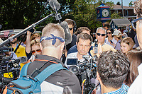 South Bend mayor and Democratic presidential candidate Pete Buttigieg greets people after speaking at the Political Soapbox at the Iowa State Fair in Des Moines, Iowa, on Tues., Aug. 13, 2019.