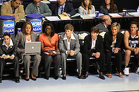 6 April 2008: Stanford Cardinal (L-R) coaching intern Jackie Zink, video coordinator Evan Unrau, assistant coach Bobbie Kelsey, associate head coach Amy Tucker, head coach Tara VanDerveer, assistant coach Kate Paye, and Jillian Harmon during Stanford's 82-73 win against the Connecticut Huskies in the 2008 NCAA Division I Women's Basketball Final Four semifinal game at the St. Pete Times Forum Arena in Tampa Bay, FL.