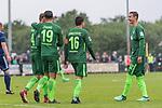17.05.2018, Stadion am Auetal, Ahlerstedt, GER, FSP, Auswahl Ahlerstedt / Ottendorf vs SV Werder Bremen<br /> <br /> im Bild<br /> Yuning Zhang (Werder Bremen #19) bejubelt seinen Treffer zum 2:7 mit Robert Bauer (Werder Bremen #04), Zlatko Junuzovic (Werder Bremen #16), Marco Friedl (Werder Bremen #32), <br /> <br /> Foto &copy; nordphoto / Ewert