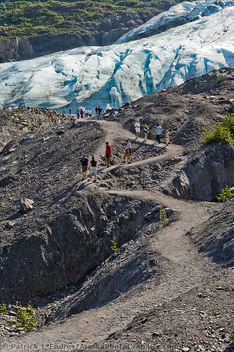 Hikers along the pathway leading to Exit Glacier, near Seward, Kenai Peninsula, southcentral, Alaska.