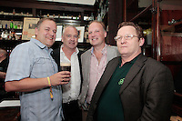 """26/7/2011. Porterhouse Celebrates Fifteen Years of Brewing with another Gold Medal. Pictured at the Sweny Chemist venue in Dublin celebrating are Stephen Cherry, Oliver Hughes Director of the Porterhouse, Peter Mosley and Garry Carroll .The Porterhouse Brewing Company is fifteen years old and to add to the celebrations they have been awarded a gold medal for their Plain Porter. The award, which is much sought after by brewers worldwide, was bestowed upon the Porterhouse's famous Plain Porter at the Brewing Industry International Awards, dubbed, """"The Brewing Oscars"""" in a glitzy ceremony at London's Guild Hall. It is the second time the Porterhouse has received this famous accolade. The first was in 1998 and again it was the Plain Porter that brought home the gold. The awards, with approximately eight hundred and fifty entries, are structured into nine categories with thirty-two classes and medals are extremely difficult to win. Picture Collins Photos"""