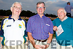 Willie O'Connor, Tony O'Keeffe and Pat O'Connor attending the Kerry Supporters Dog Night in the Kingdom Greyhound Track on Friday night.