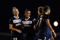Sky Blue FC forward Monica Ocampo (8)\ celebrates with teammates after the match. Sky Blue FC defeated the Washington Spirit 1-0 during a National Women's Soccer League (NWSL) match at Yurcak Field in Piscataway, NJ, on August 3, 2013.
