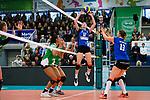 18.11.2018, Halle Berg Fidel, Muenster<br />Volleyball, Bundesliga Frauen, Normalrunde, USC MŸnster / Muenster vs. VfB Suhl Lotto ThŸringen / Thueringen<br /><br />Zuspiel Taylor Bruns (#17 Suhl), McKenzie Jacobson (#13 Suhl)<br /><br />  Foto &copy; nordphoto / Kurth