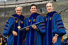 May 20, 2018; University of Notre Dame President Rev. John I. Jenkins, C.S.C., Judge Sérgio Moro, and Notre Dame Board of Trustees Chair Jack Brennan pose for a photo after Moro was presented with an honorary degree at the 2018 Commencement ceremony. (Photo by Matt Cashore/University of Notre Dame)
