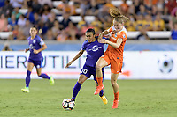Houston, TX - Saturday June 17, 2017: Marta Vieira Da Silva and Janine Beckie battle for control of the ball during a regular season National Women's Soccer League (NWSL) match between the Houston Dash and the Orlando Pride at BBVA Compass Stadium.