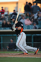Matt Winn (28) of the San Jose Giants bats against the Lancaster JetHawks at The Hanger on May 5, 2017 in Lancaster, California. San Jose defeated Lancaster, 4-2. (Larry Goren/Four Seam Images)