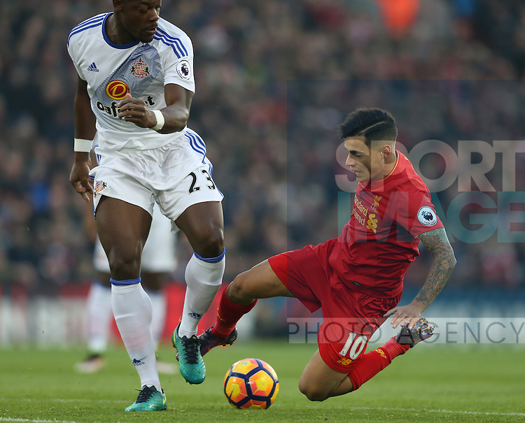 Lamine Kone of Sunderland tackles Philippe Coutinho of Liverpool during the Premier League match at the Anfield Stadium, Liverpool. Picture date: November 26th, 2016. Pic Simon Bellis/Sportimage