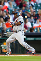 Detroit Tigers outfielder Torii Hunter (48) ducks out of the way of an inside pitch in the first inning of the MLB baseball game against the Houston Astros on May 3, 2013 at Minute Maid Park in Houston, Texas. Detroit defeated Houston 4-3. (Andrew Woolley/Four Seam Images).