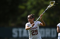 Stanford, Ca - April 19, 2019: The Stanford Cardinal v University of California Golden Bears Women's Lacrosse at Maloney Field at Laird Q. Cagan Stadium in Stanford, CA. Final score, Stanford Cardinal 17, University of California Golden Bears 6.